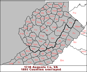 Augusta Co, VA with 1895 Counties overlayed